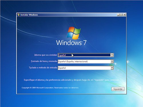 Windows 7 installation, instalación de windows 7