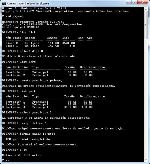 Herramienta diskpart, diskpart tool